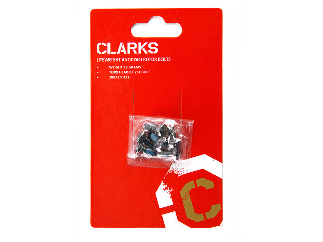 Clarks 6 Anodised Rotor Bolts, black